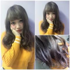グラデーションカラー ラベンダーアッシュ おフェロ 透明感 ヘアスタイルや髪型の写真・画像