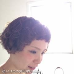 ウェーブ ショート マッシュ パーマ ヘアスタイルや髪型の写真・画像