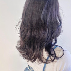 パープルアッシュ パープル パープルカラー ラベンダー ヘアスタイルや髪型の写真・画像