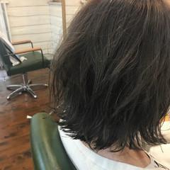 ナチュラル 切りっぱなし ボブ グレージュ ヘアスタイルや髪型の写真・画像