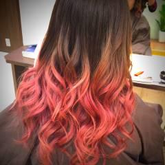 オレンジ ピンク 渋谷系 ストリート ヘアスタイルや髪型の写真・画像