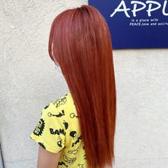 ロング オレンジ ブリーチ 派手髪 ヘアスタイルや髪型の写真・画像