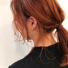セミロング 簡単ヘアアレンジ ストリート オレンジ ヘアスタイルや髪型の写真・画像