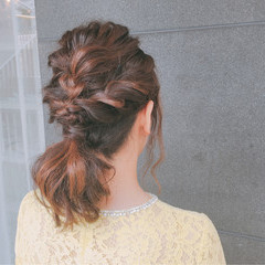 ポニーテール 上品 ミディアム 結婚式 ヘアスタイルや髪型の写真・画像
