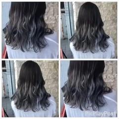 コンサバ セミロング グレージュ ダブルカラー ヘアスタイルや髪型の写真・画像
