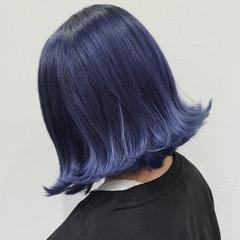 ストリート ボブ ブルー ロブ ヘアスタイルや髪型の写真・画像
