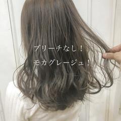 ヘアカラー グレージュ フェミニン ブリーチなし ヘアスタイルや髪型の写真・画像