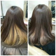 フェミニン セミロング グラデーションカラー ガーリー ヘアスタイルや髪型の写真・画像