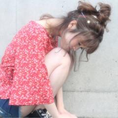 デート セミロング ヘアアレンジ 夏 ヘアスタイルや髪型の写真・画像