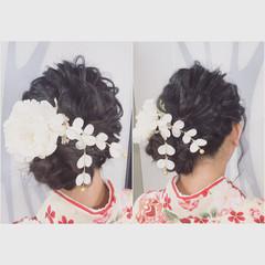 黒髪 ヘアアレンジ フェミニン 大人かわいい ヘアスタイルや髪型の写真・画像