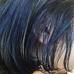 インナーブルー ハンサムショート ブルー ブルーブラック ヘアスタイルや髪型の写真・画像