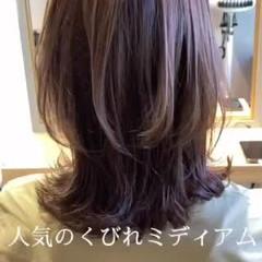 透明感カラー ブラントカット 大人ミディアム 大人かわいい ヘアスタイルや髪型の写真・画像