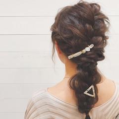 三つ編み ロング ヘアアレンジ 結婚式 ヘアスタイルや髪型の写真・画像