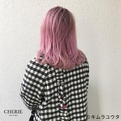ハイトーン ブリーチ ガーリー ピンク ヘアスタイルや髪型の写真・画像