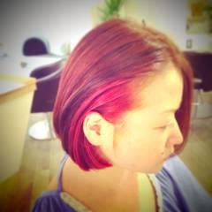 グラデーションカラー ピンク レッド ヘアスタイルや髪型の写真・画像