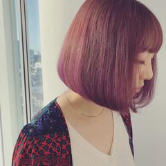 ピンク ボブ オルチャン パープル ヘアスタイルや髪型の写真・画像