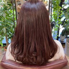 ピンクバイオレット セミロング ラベンダーピンク ガーリー ヘアスタイルや髪型の写真・画像