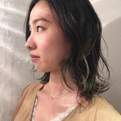 セミロング エレガント グラデーションカラー ハイライト ヘアスタイルや髪型の写真・画像