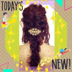 結婚式 コンサバ ツイスト ロープ編み ヘアスタイルや髪型の写真・画像