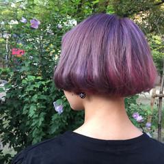 パープル ストリート ボブ ピンク ヘアスタイルや髪型の写真・画像