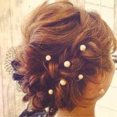 コンサバ 編み込み モテ髪 アップスタイル ヘアスタイルや髪型の写真・画像