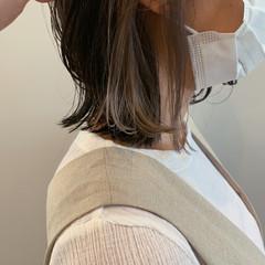 グレーアッシュ インナーカラー ストリート ボブ ヘアスタイルや髪型の写真・画像