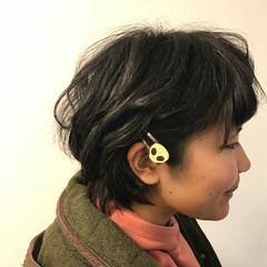 パーマ ヘアアレンジ 黒髪 デート ヘアスタイルや髪型の写真・画像