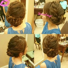 夏 結婚式 ロング 大人かわいい ヘアスタイルや髪型の写真・画像