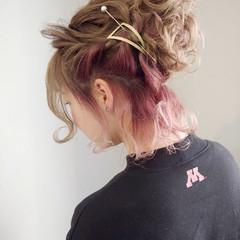 ボブ インナーカラー アンニュイほつれヘア ヘアアレンジ ヘアスタイルや髪型の写真・画像