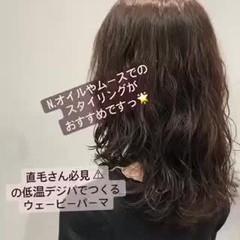 ナチュラル ミディアム 大人かわいい ゆるふわパーマ ヘアスタイルや髪型の写真・画像