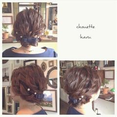 編み込み ヘアアレンジ セミロング ゆるふわ ヘアスタイルや髪型の写真・画像