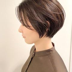 ショートボブ ショート ナチュラル 大人かわいい ヘアスタイルや髪型の写真・画像