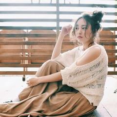 ヘアアレンジ アンニュイ おフェロ リラックス ヘアスタイルや髪型の写真・画像
