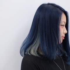 ダブルカラー セミロング ブルー インナーカラー ヘアスタイルや髪型の写真・画像