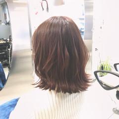 春 ミディアム 透明感 コーラル ヘアスタイルや髪型の写真・画像
