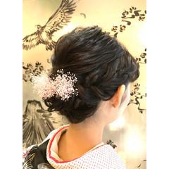 編み込み フェミニン ミディアム 黒髪 ヘアスタイルや髪型の写真・画像