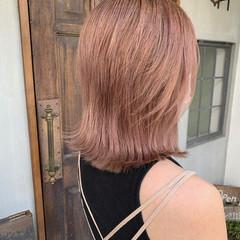 ラズベリーピンク ピンクベージュ ピンクパープル セミロング ヘアスタイルや髪型の写真・画像