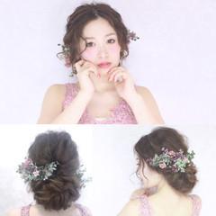 結婚式 セミロング 花嫁 外国人風 ヘアスタイルや髪型の写真・画像
