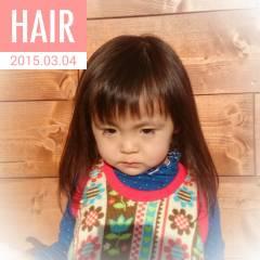 ナチュラル オン眉 斜め前髪 ヘアスタイルや髪型の写真・画像