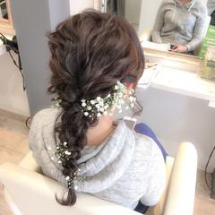 花嫁 ブライダル セミロング ヘアアレンジ ヘアスタイルや髪型の写真・画像