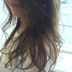 グレー グラデーションカラー ハイライト ロング ヘアスタイルや髪型の写真・画像