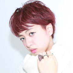 ナチュラル ピンク 外国人風 ショート ヘアスタイルや髪型の写真・画像