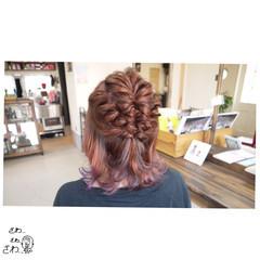 簡単ヘアアレンジ パープル ナチュラル ボブ ヘアスタイルや髪型の写真・画像