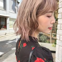 ガーリー ピンクベージュ ピンク ボブ ヘアスタイルや髪型の写真・画像