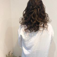 フェミニン ハーフアップ セミロング リボン ヘアスタイルや髪型の写真・画像