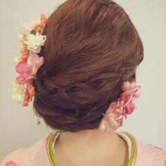 着物 ヘアアレンジ ミディアム 謝恩会 ヘアスタイルや髪型の写真・画像