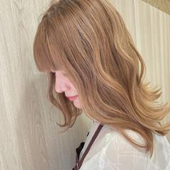 髪質改善 ダブルカラー フェミニン ミディアム ヘアスタイルや髪型の写真・画像