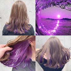 ストリート ミディアム インナーカラー ユニコーンカラー ヘアスタイルや髪型の写真・画像
