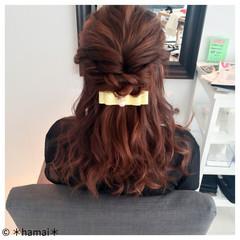 ミディアム ハーフアップ 大人かわいい 編み込み ヘアスタイルや髪型の写真・画像