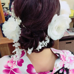 お祭り ヘアアレンジ 夏 フェミニン ヘアスタイルや髪型の写真・画像